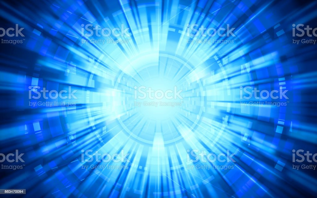 abstract technology warp circles on blue color background stock photo