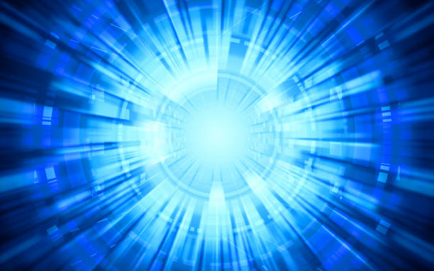 abstract technology warp circles on blue color background abstract technology warp circles on blue color background zoom effect stock pictures, royalty-free photos & images