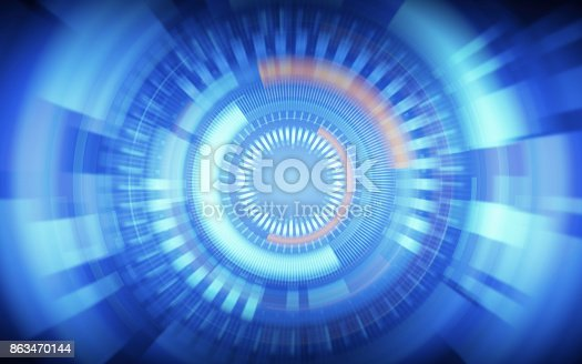 istock abstract technology warp circles on blue color background 863470144