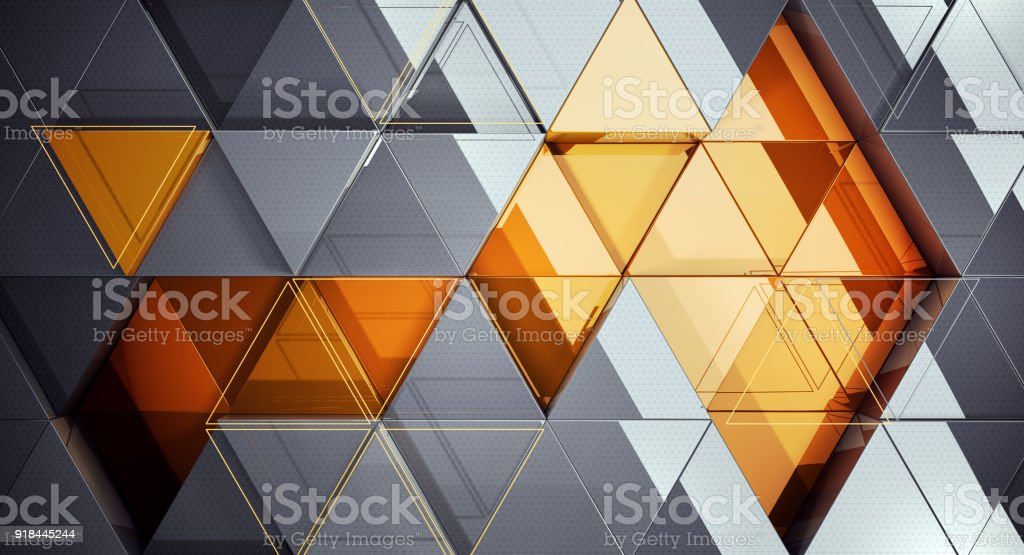 Abstract template background with yellow and grey triangle shapes. stock photo
