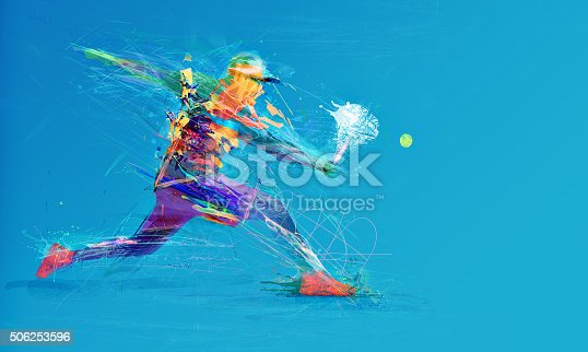 istock Abstract tennis player 506253596