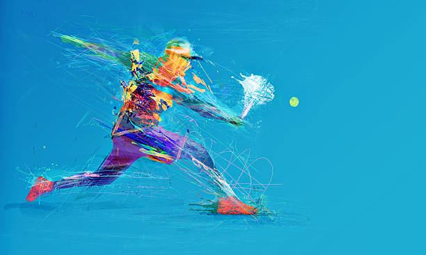 abstract tennis player - tennis stock photos and pictures