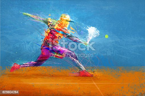 istock Abstract tennis player 625604264