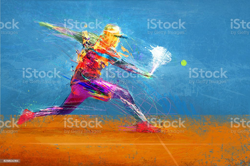 Abstract tennis player vector art illustration