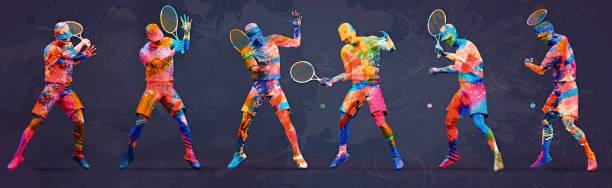 abstrait joueur de tennis - technique photographique photos et images de collection
