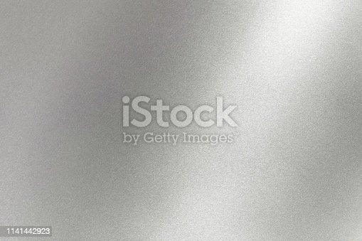 istock Abstract texture background, light shining on gray metal wall 1141442923