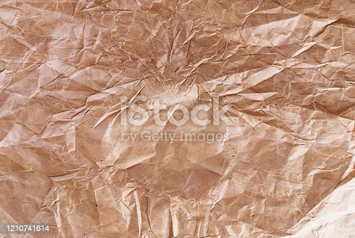 abstract texture background old Wrinkle Recycle craft brown paper, toned photo, Copy space, flat lay, Template mockup with place for text,