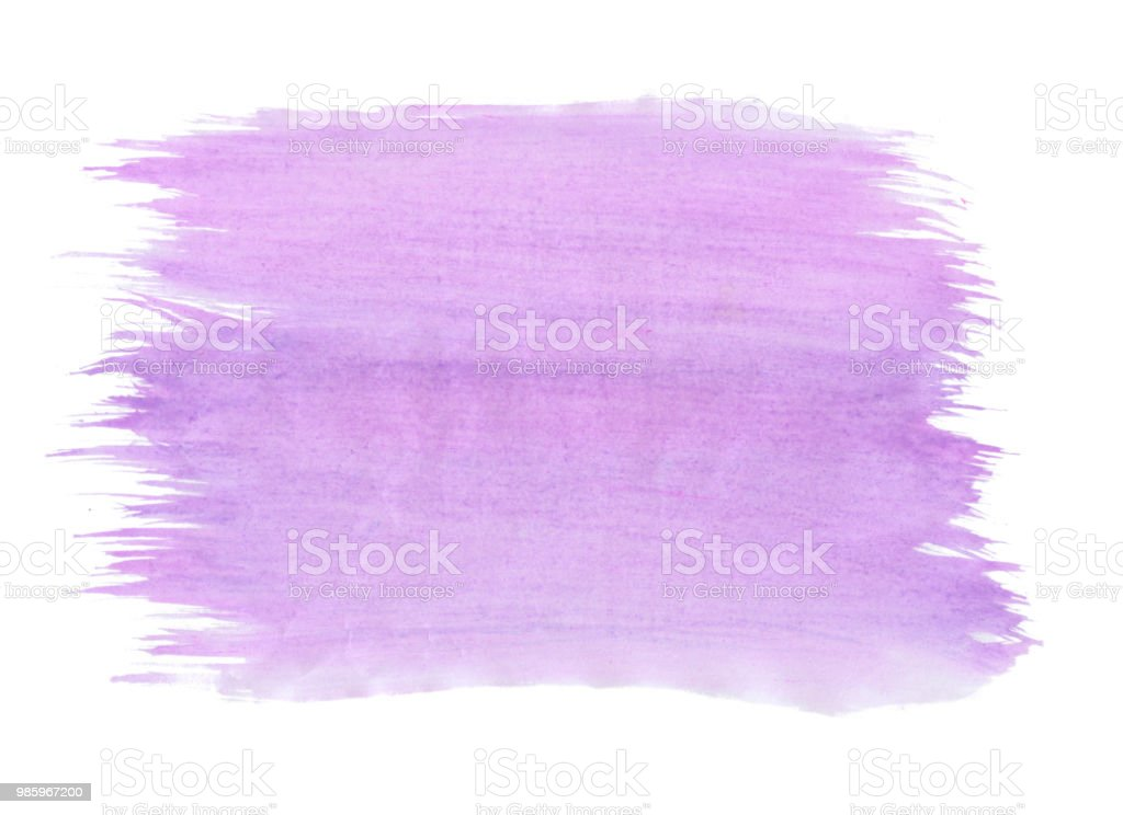 Abstract texture brush ink background purple aquarel watercolor splash hand paint on white background stock photo