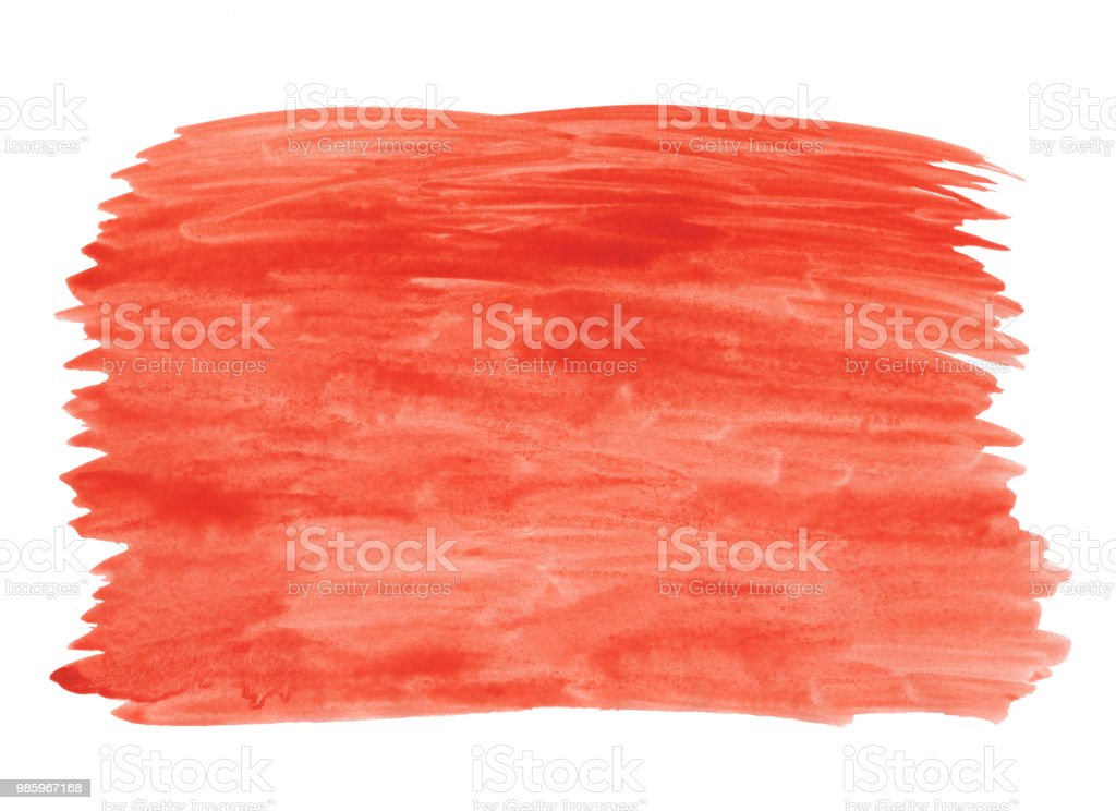 Abstract texture brush ink background red aquarell watercolor splash paint on white background stock photo