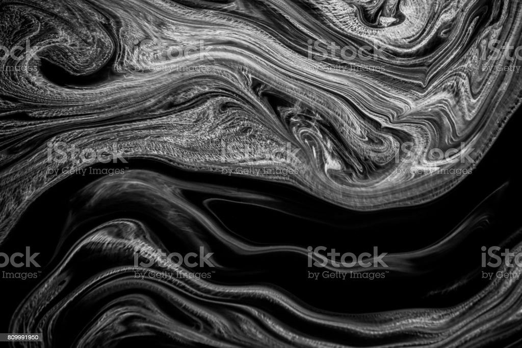 Abstract texture ink on water in black and white color for background stock photo
