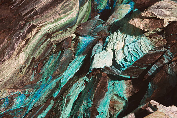 abstract texture of oxidated copper in the copper mine. - patina stockfoto's en -beelden