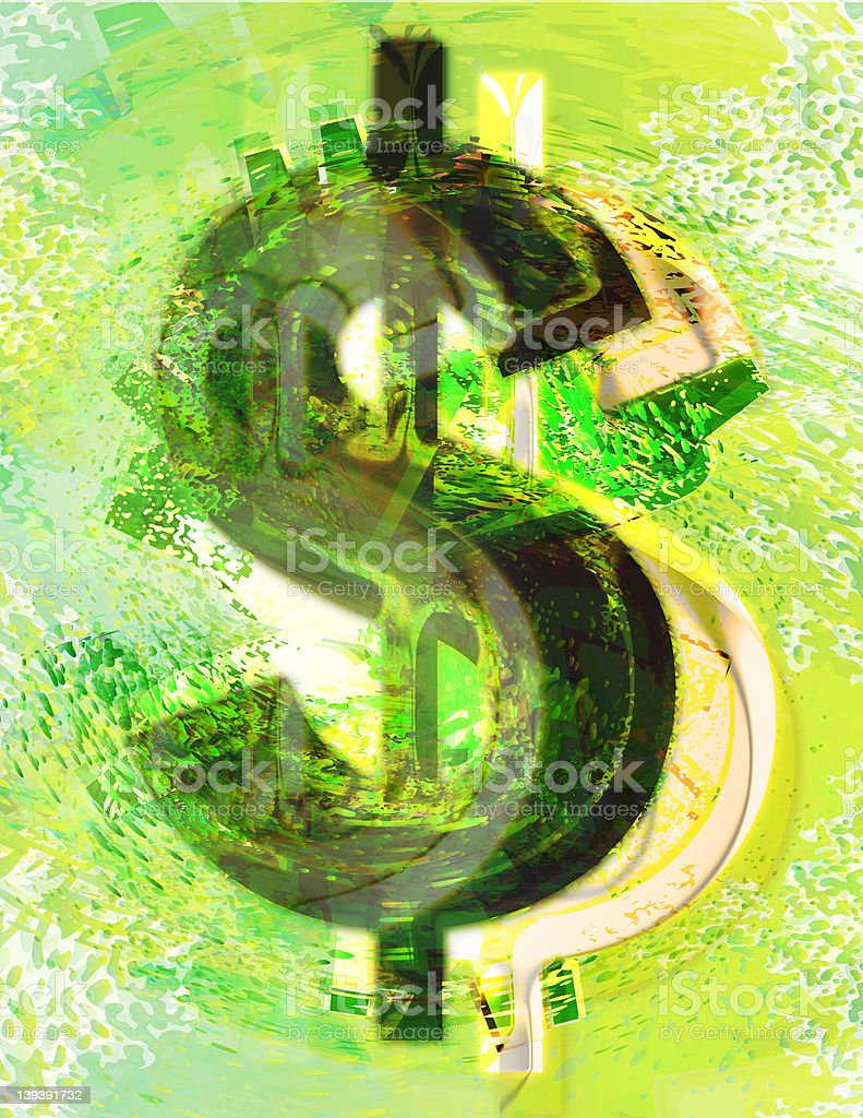 Abstract Textured Dollar Sign stock photo