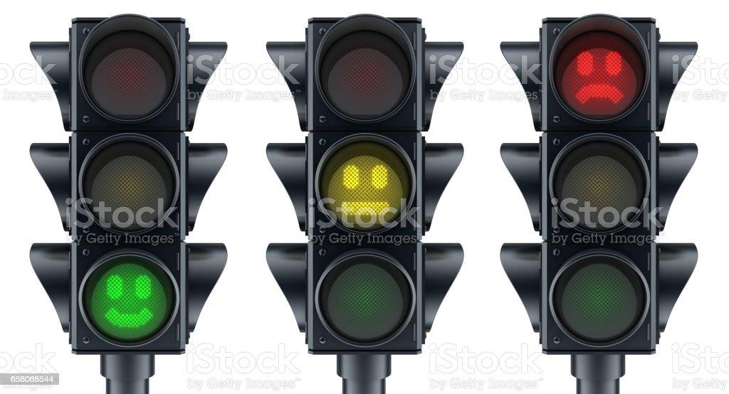 Abstract three traffic lights stock photo