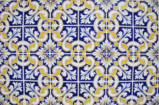 abstract tile pattern in blue, yellow and white stock photo