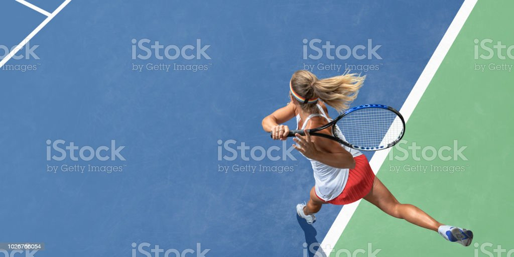 Abstract Top View Of Female Tennis Player After Serve stock photo
