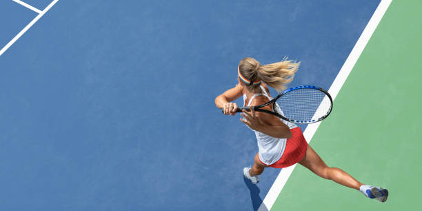 abstract top view of female tennis player after serve - tennis stock pictures, royalty-free photos & images