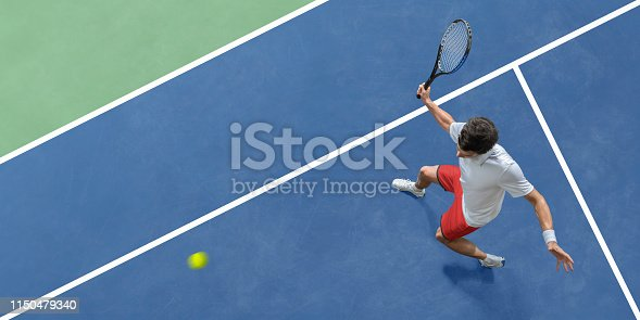 istock Abstract Top View Of Tennis Player About to Hit Ball 1150479340