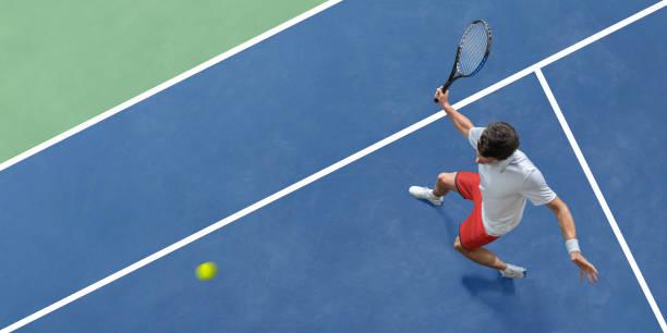resumen vista superior de jugador de tenis a punto de golpear la pelota - tenis fotografías e imágenes de stock
