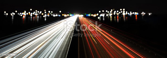 istock abstract traffic and city lights at night 1147278961