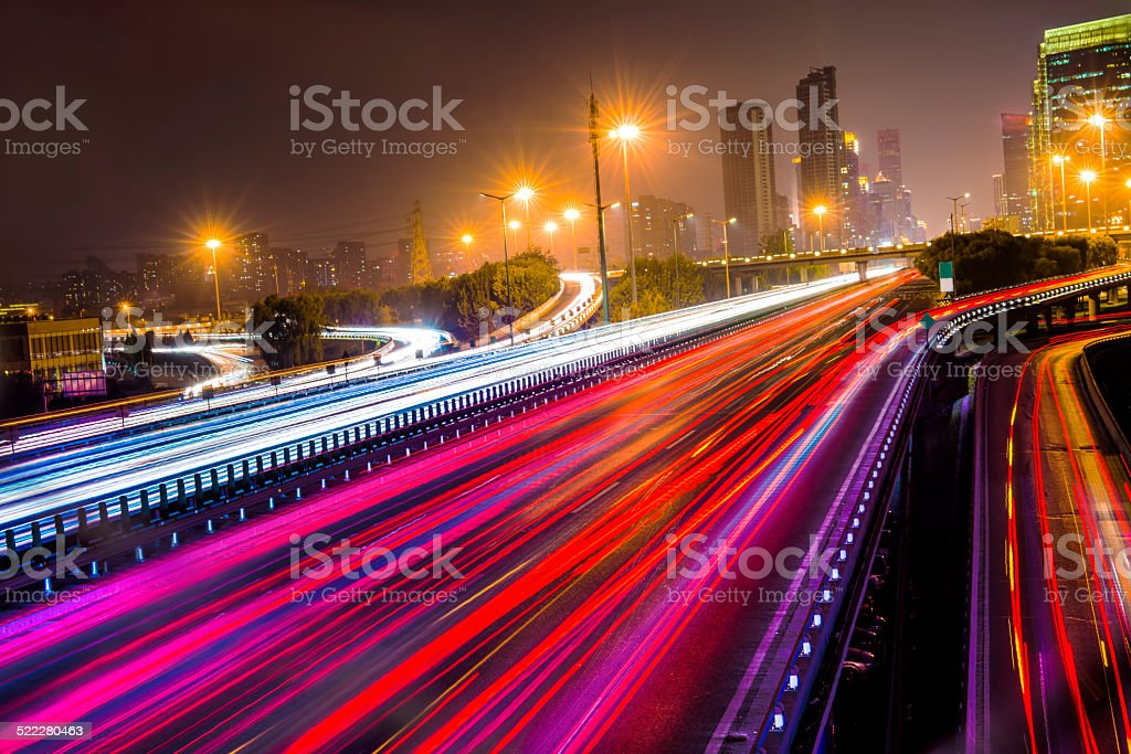 abstract traffic and cityscape stock photo