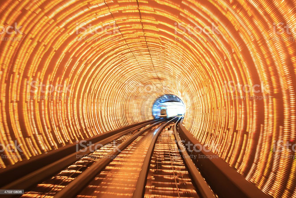 Abstract train moving in tunnel stock photo