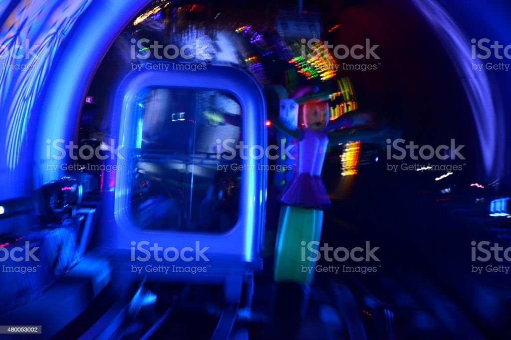 Abstract train moving in tunnel track stock photo