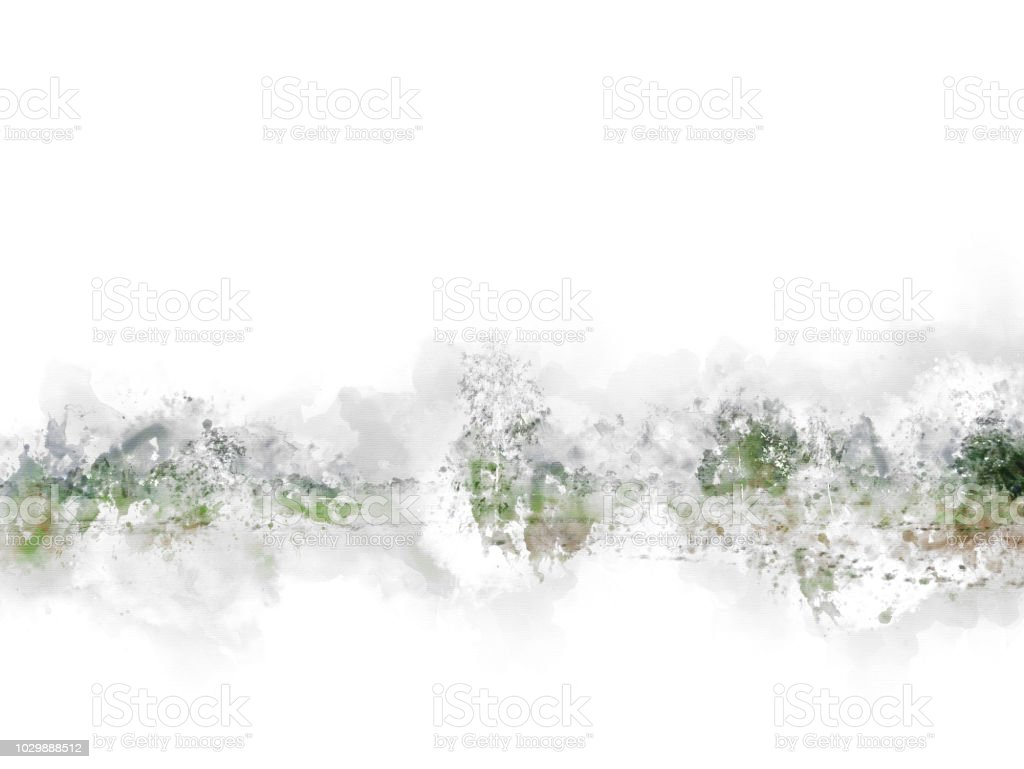 Abstract tree and field landscape in Thailand on watercolor illustration painting background. stock photo