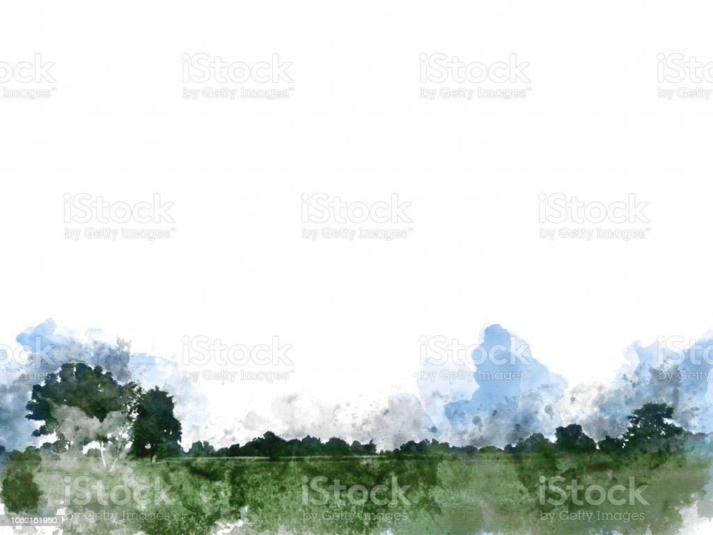 Abstract tree and field landscape on watercolor illustration painting background. stock photo