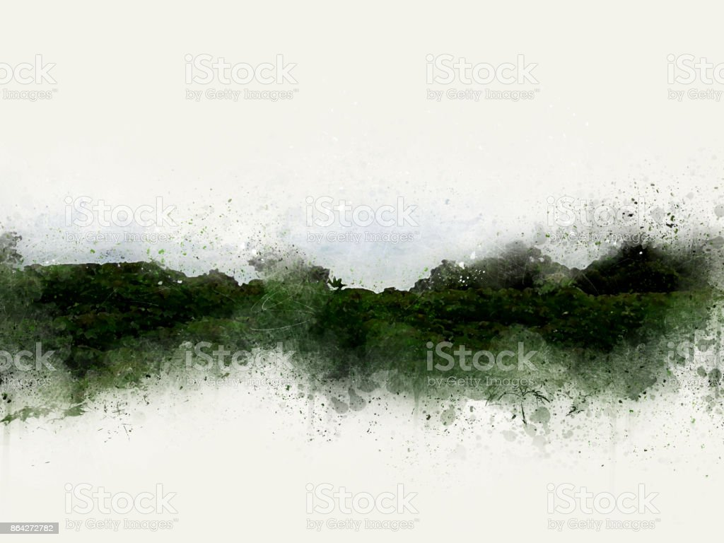 Abstract tree and Field on colorful watercolor painting background royalty-free stock photo
