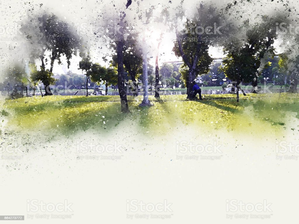 Abstract tree in the park on colorful watercolor painting background royalty-free stock photo