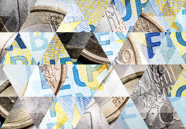 abstrakte dreieck mosaik hintergrund: 1-euro-münze auf 20 euro-banknote - europäische währung stock-fotos und bilder