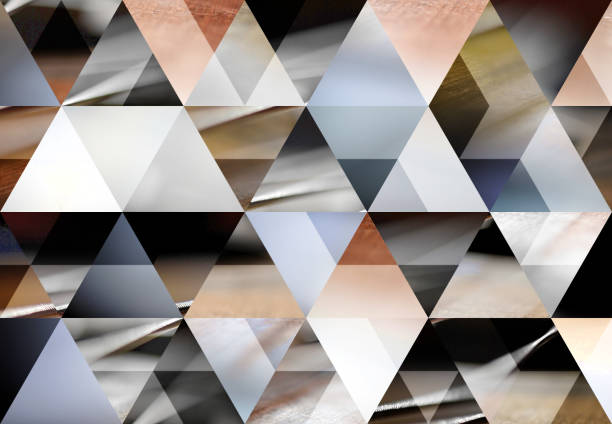 Abstract triangle mosaic background: Acoustic bass guitar stock photo