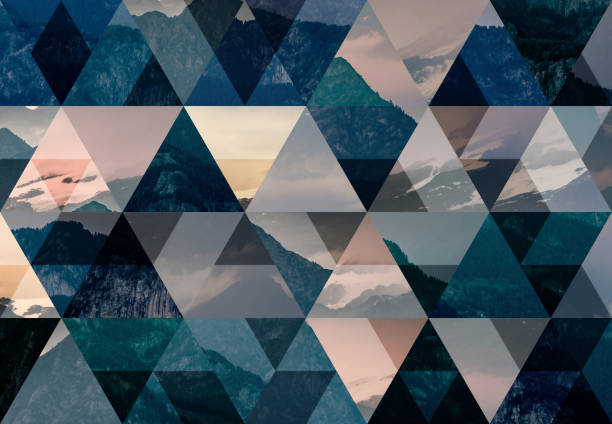 Abstract triangle mosaic background: Alps mountains stock photo