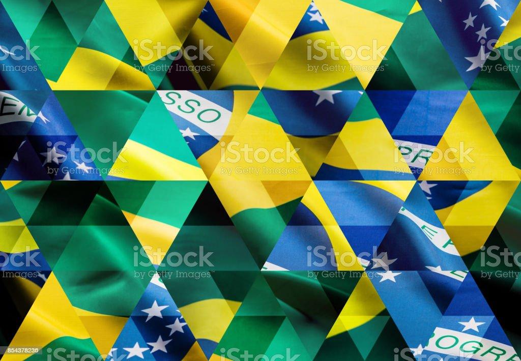 Abstrato base de mosaico triângulo: bandeira brasileira - foto de acervo