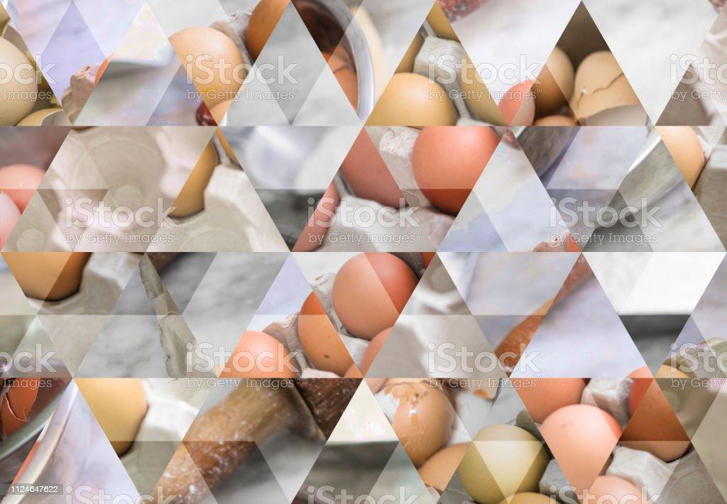 Abstrakte Dreieck Mosaik Hintergrund: Kuchen Zutaten – Foto