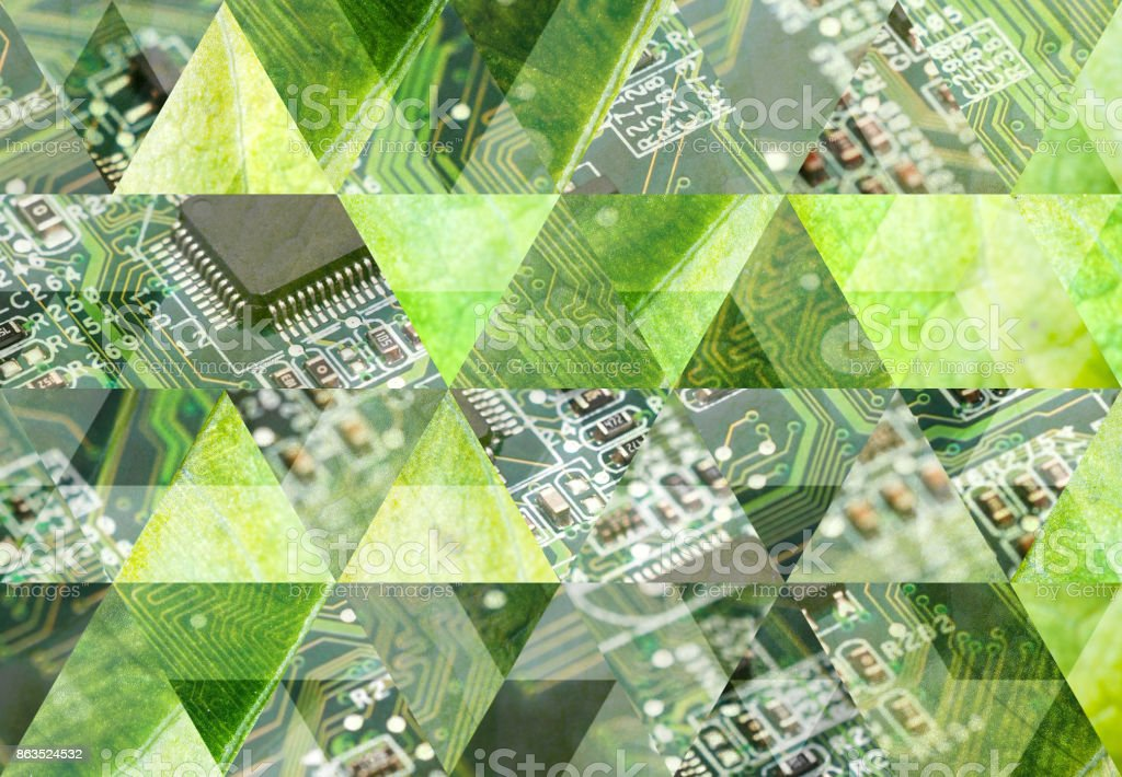 Abstract triangle mosaic background: Circuit board and leaf stock photo