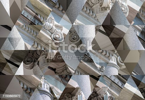 Abstract triangle mosaic background: Column capital