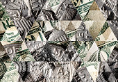 Abstract triangle mosaic background: Dollar coin on dollar note