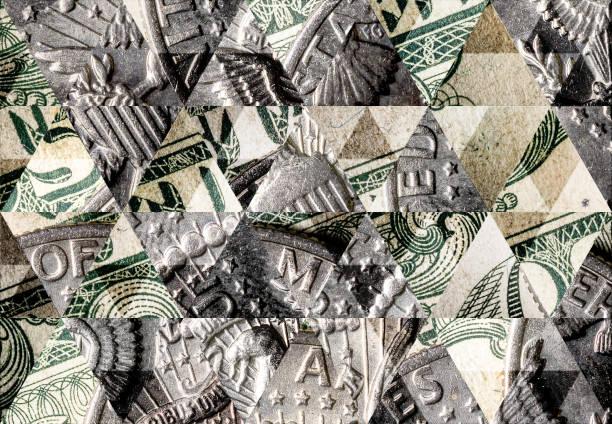 abstrakte dreieck mosaik hintergrund: dollar-münze auf dollar-note - kariertes hintergrundsbild stock-fotos und bilder
