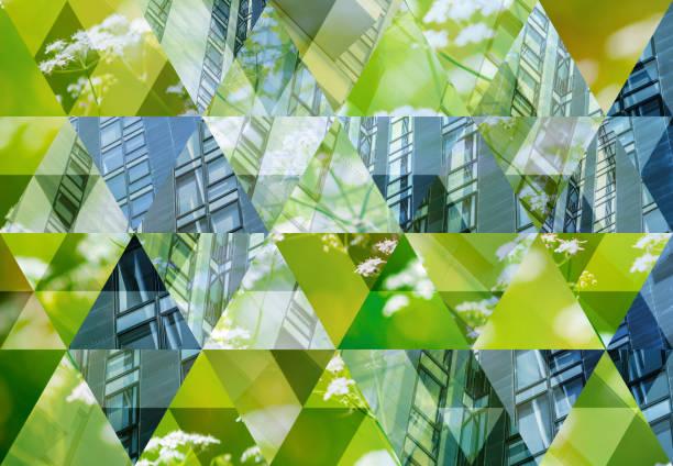 Abstracta fondo de mosaico triángulo: doble naturaleza de la exposición y urbano - foto de stock