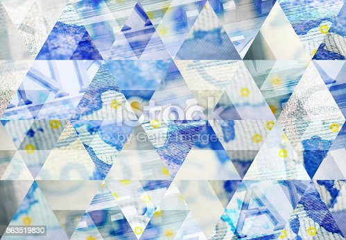 Abstract triangle mosaic background: Euro and finance