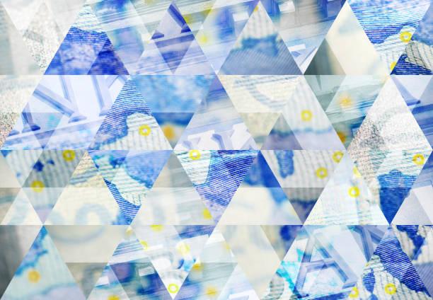dreieck mosaik hintergrund abstrahieren: euro und finanzen - europäische währung stock-fotos und bilder
