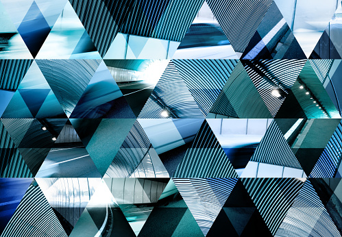 istock Abstract triangle mosaic background: Fast car in modern tunnel 1124646313