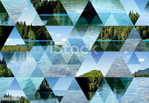 Abstract triangle mosaic background: Fusine Lake