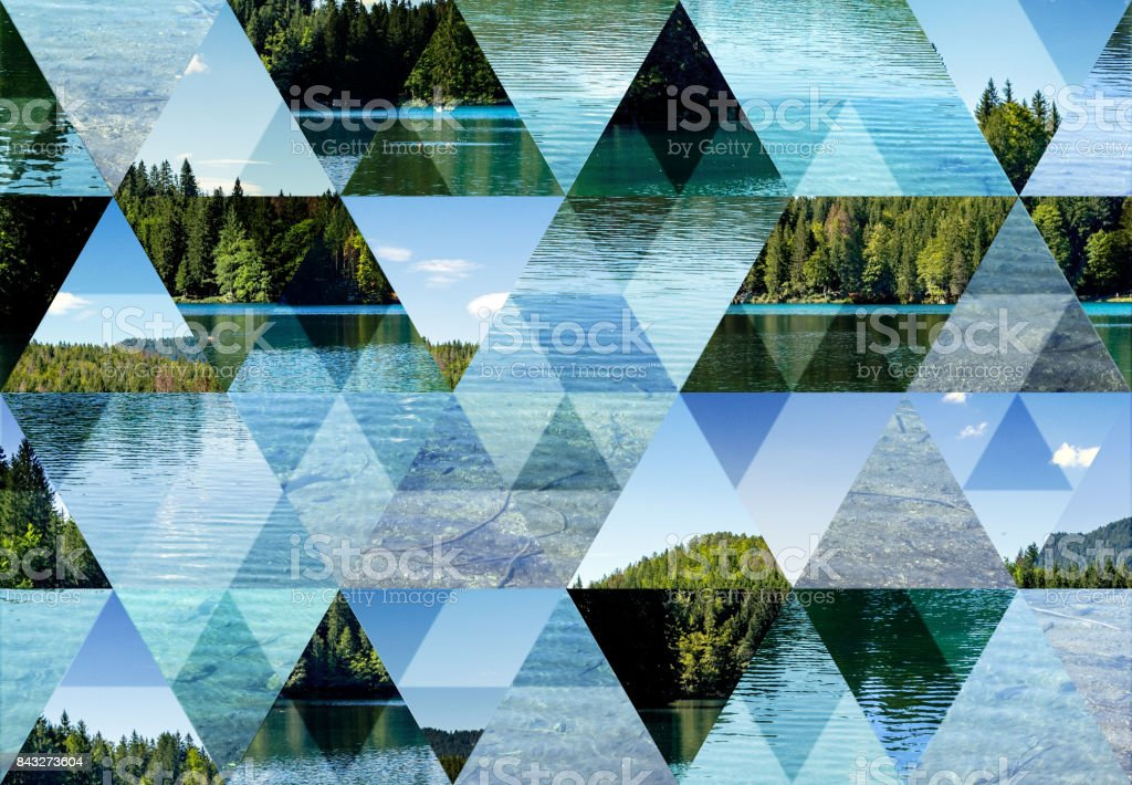 Abstract triangle mosaic background: Fusine Lake stock photo