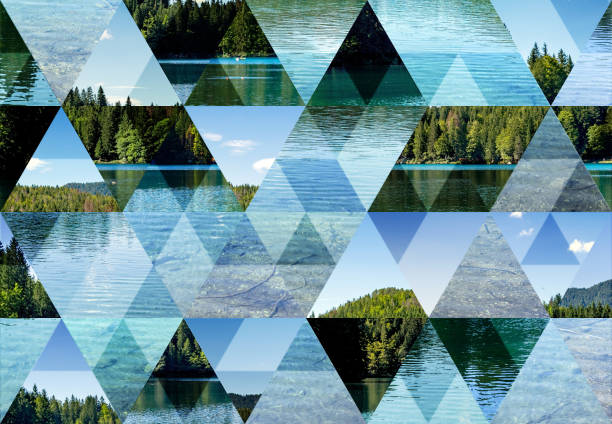 abstract triangle mosaic background: fusine lake - geometry stock photos and pictures