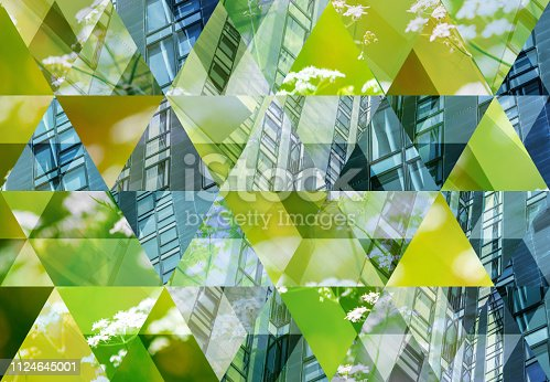 Abstract triangle mosaic background: Green Architecture