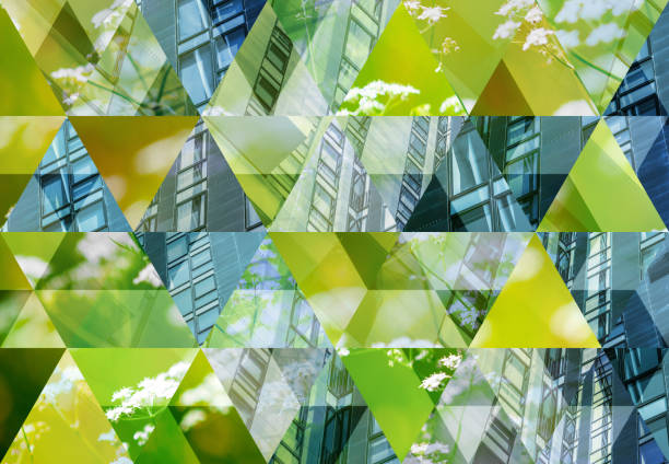 abstract triangle mosaic background: green architecture - sustainable living stock pictures, royalty-free photos & images