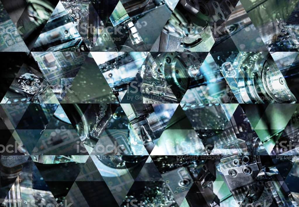 Abstract triangle mosaic background: Industrial machine stock photo