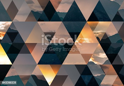 istock Abstract triangle mosaic background: Italian alps at dusk 843266328
